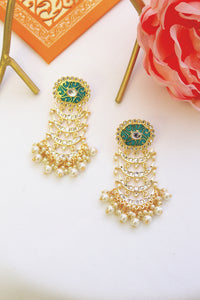 Oval turquoise blue meenakari stud with kundan chandbali layers