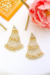 Triangular dangle gold plated earrings with pearl