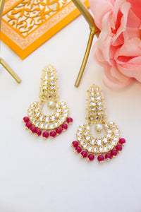 Gold plated long kundan chandbali with hot pink beads