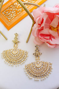 Kundan chandbali with white meenakari