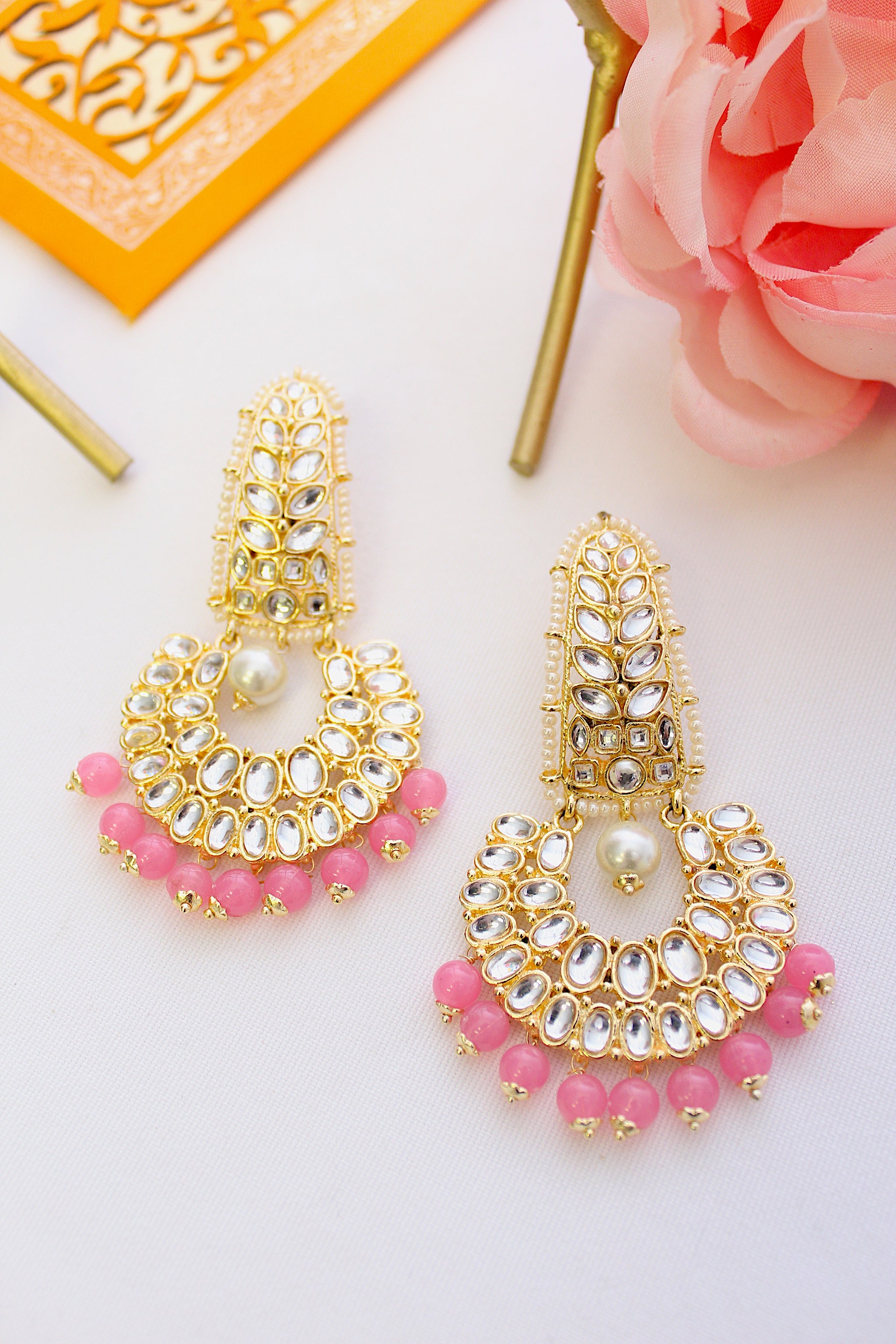 Gold plated long kundan chandbali with rose pink beads