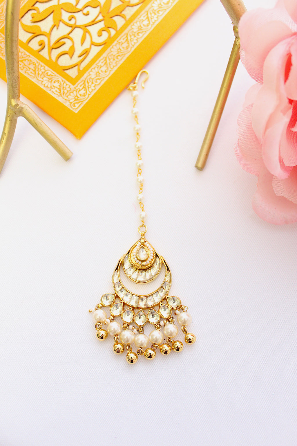 Gold plated drop polki kundan maang tika