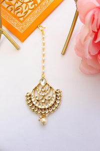 Gold plated fan shaped polki kundan chandbali tika