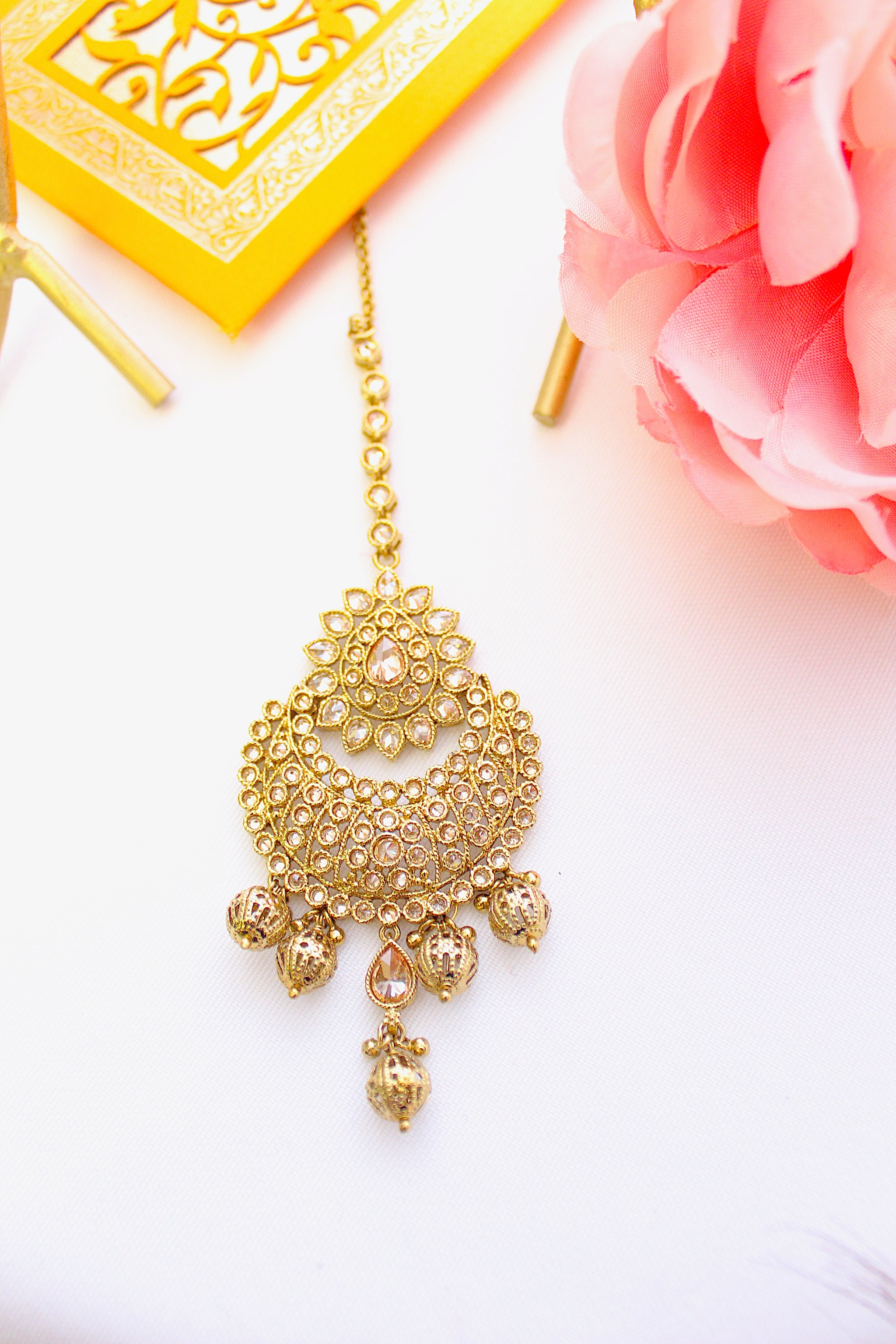 Champagne gold kundan stone in floral drop & chandbali