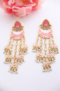 Salmon pink floral round meenakari stud with long danglings