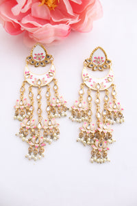 White meenakari floral studs with long danglings