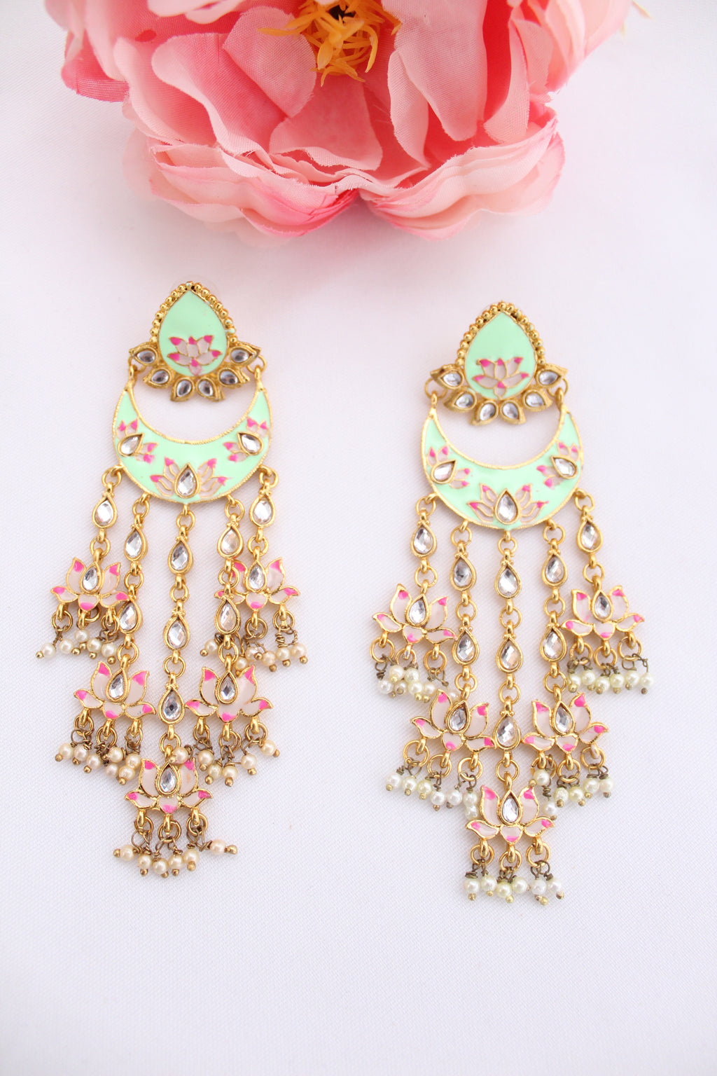 Mint green floral meenakari studs with long danglings