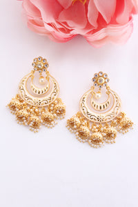 White meenakari jhumki with gold floral stud