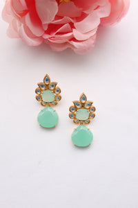 sea green and gold floral studs with sea green jewel drop