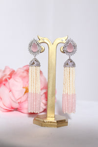 silver tear shaped stud with pearl and pink bead tassel style hangings