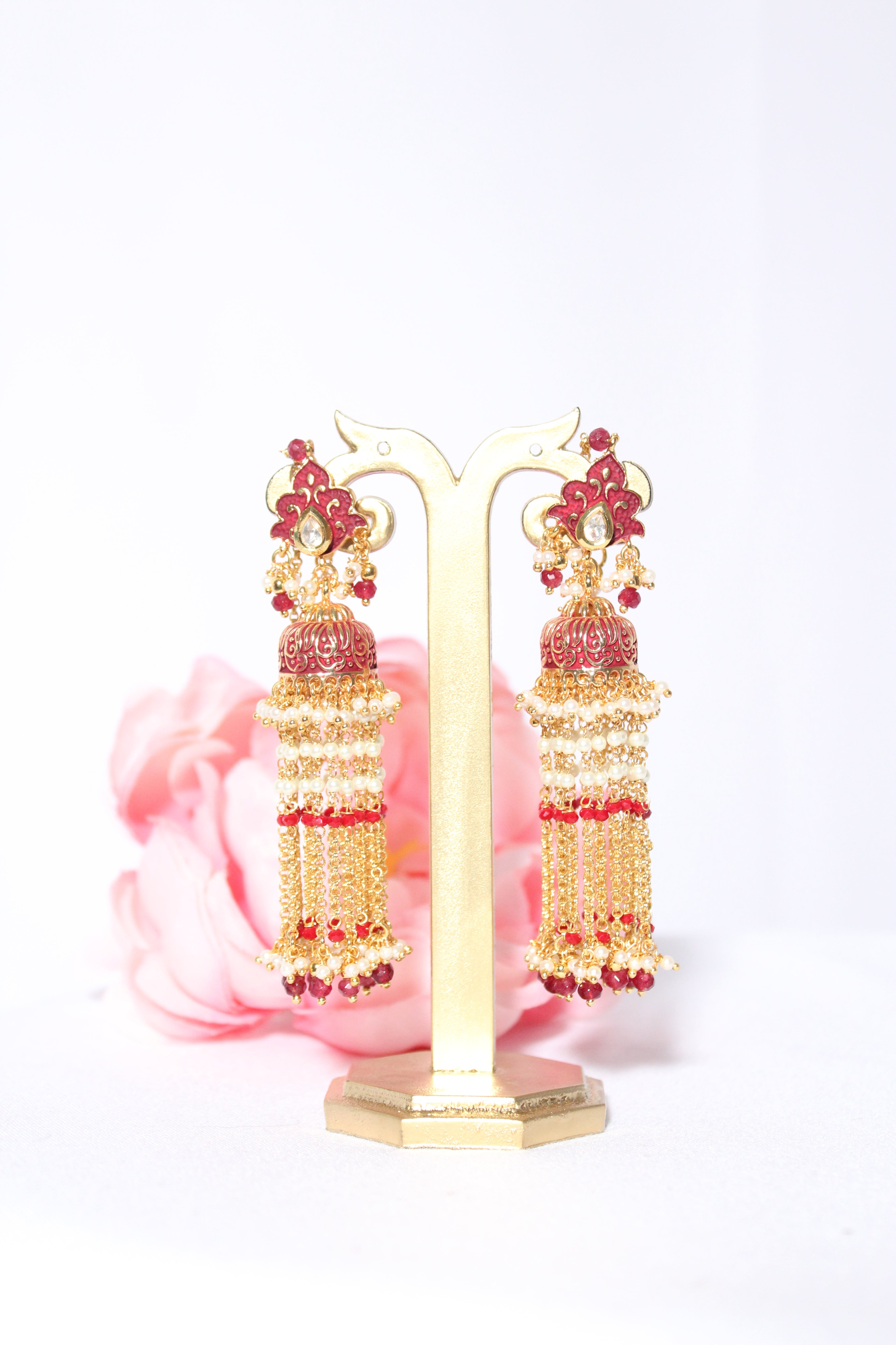 brick red meenakari tassel style earrings