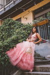 Chic Pink Ombre Skirt With Ruffles - Indo Western Crop Top Skirt for Sangeet - Sushma Patel