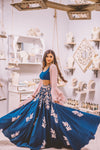 Chic Sangeet Lehenga Choli In Navy Blue With Light Pink Jacket - Buy Indo Western Collection in USA - Sushma Patel