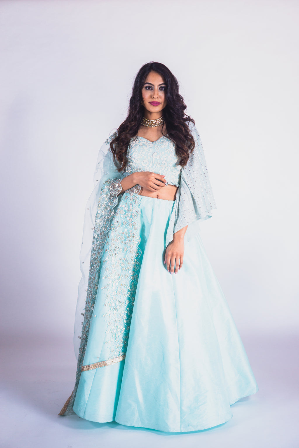 Sky Blue Raw Silk Lehenga With Bell Sleeves Lucknowi Blouse and Organza Dupatta - Shop Indian Clothes Online in USA at sushmapatel.us