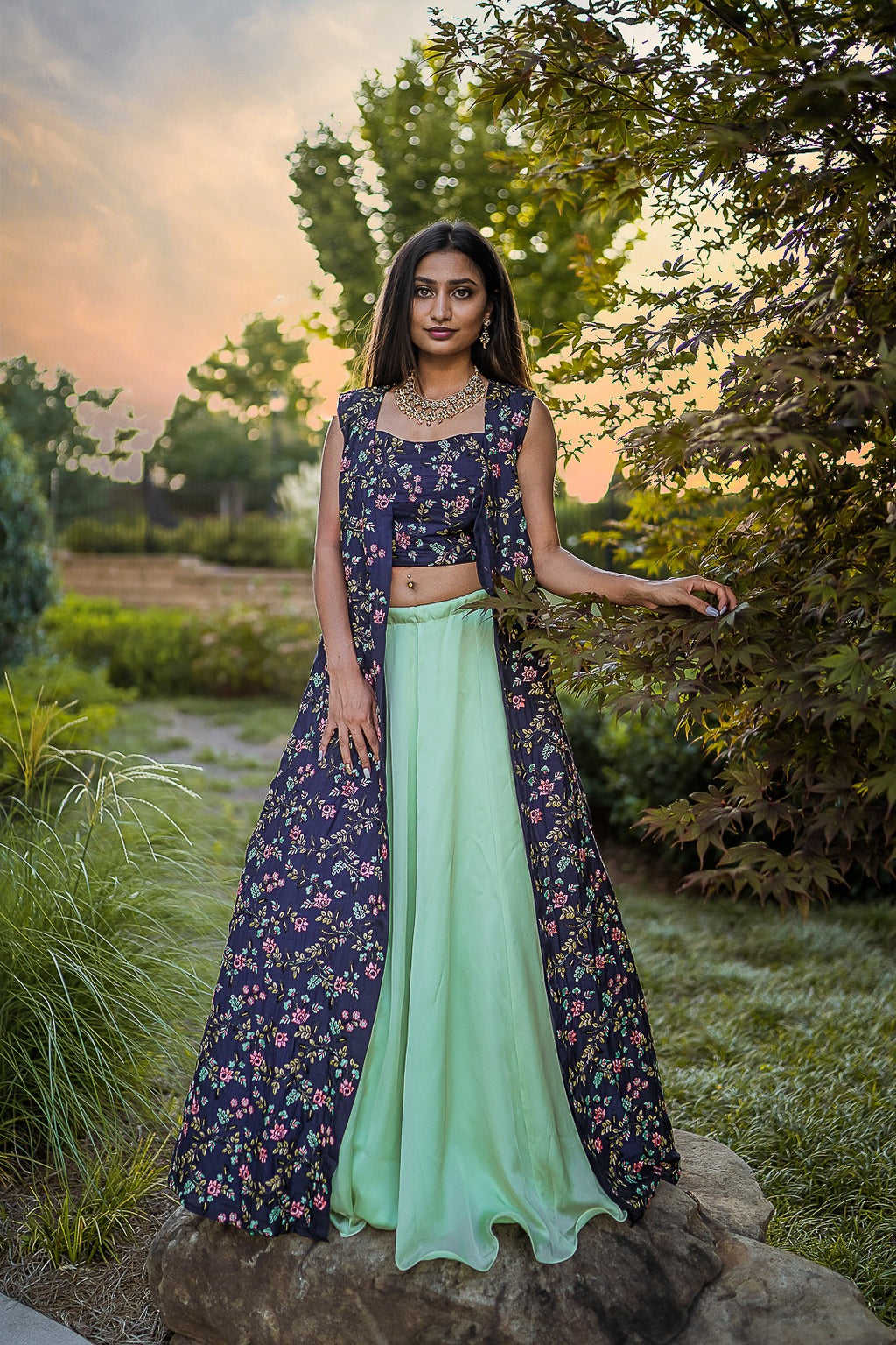 Navy Blue Indo Western Anarkali Jacket and Sea Green Satin Silk Skirt - Shop at Sushma Patel Boutique in Altanta, USA