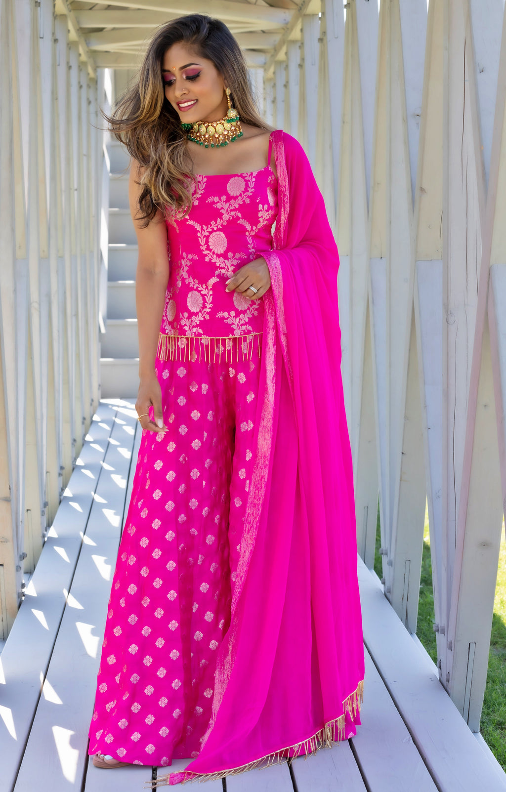 Hot Pink Palazzo Pant Top in Pure Banarasi Brocade - Shop Designer Indo Western Outfits in USA - Sushma Patel