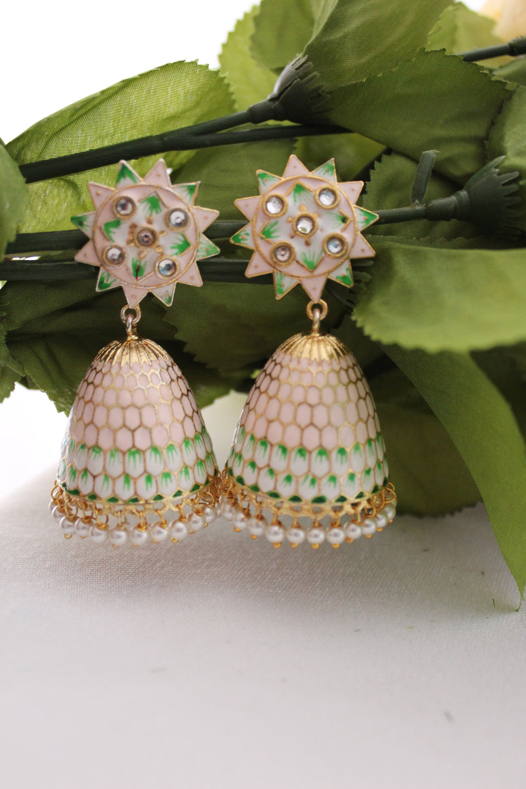 Pastel pink meenakari jhumki with pearl beads and kundan