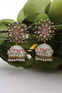 White meenakari jhumki with pearl beads and kundan