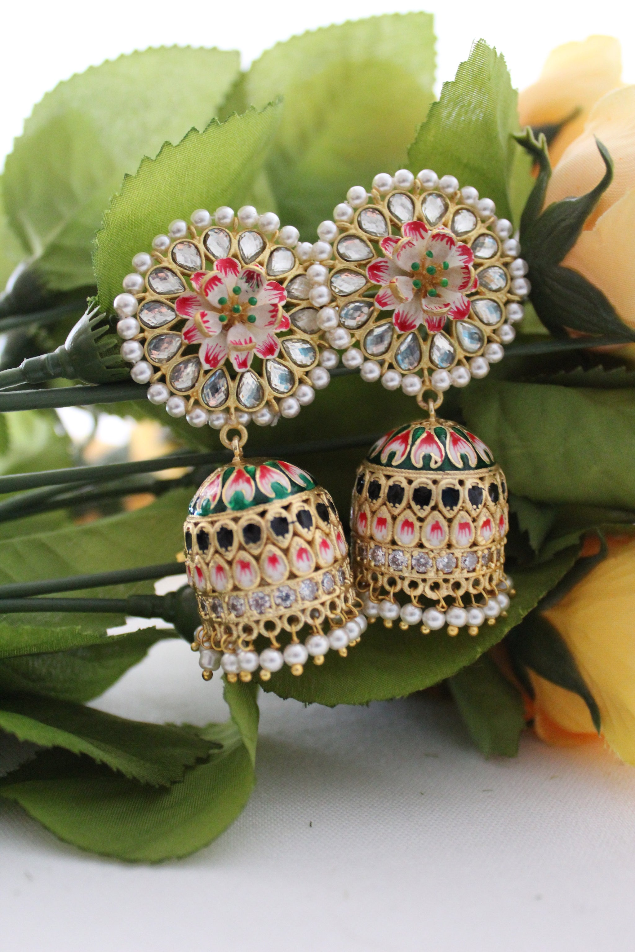 Floral meenakari jhumki with pearl and kundan