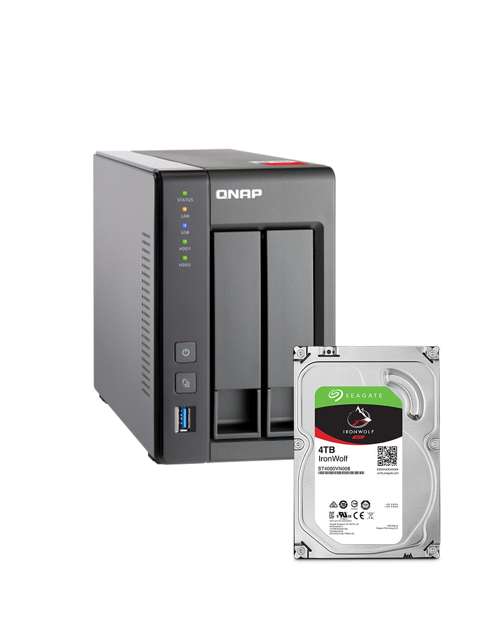 QNAP TS-251+-4GB 8TB with 4TB Seagate IronWolf Drives