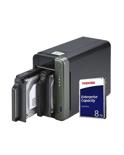 QNAP TS-253D 4G 16TB with 8TB Toshiba Enterprise - QNAP Direct