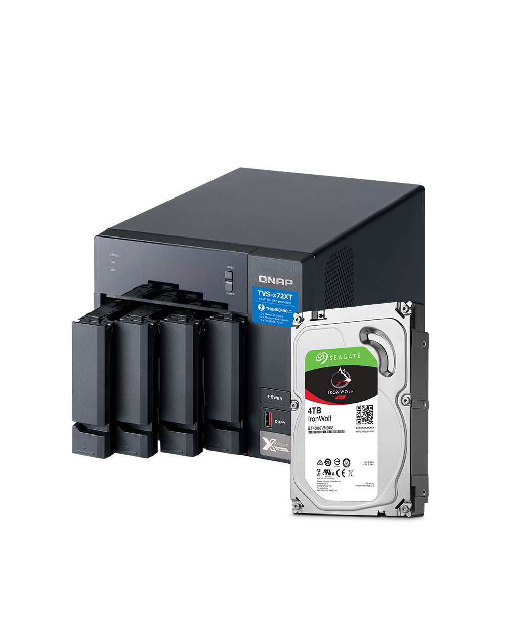 QNAP TVS-472XT-PT-4G 16TB with 4TB Seagate IronWolf Drives