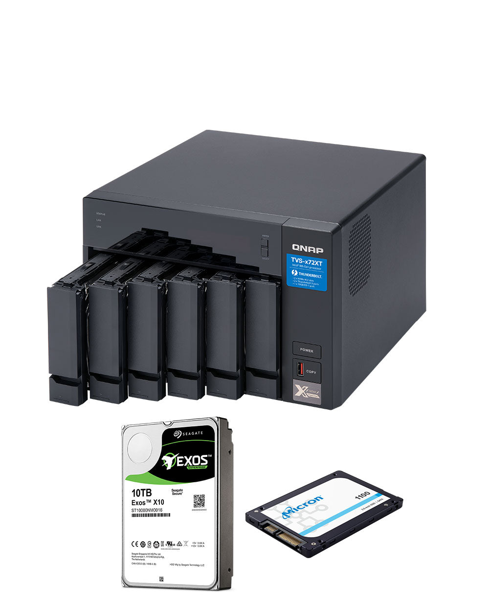 QNAP TVS-672XT-i3-8G 30TB with 10TB Exos Helium Drives and 2 x 256GB SSD