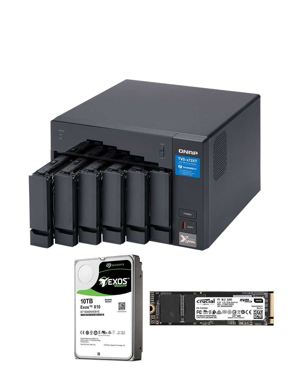 QNAP TVS-672XT-i3-8G 30TB with 10TB Exos Helium Drives and 2 x 500GB NVMe
