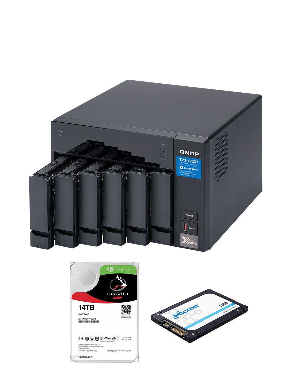 QNAP TVS-672XT-i3-8G with 14TB Ironwolf Drives and 2 x 256GB SSD