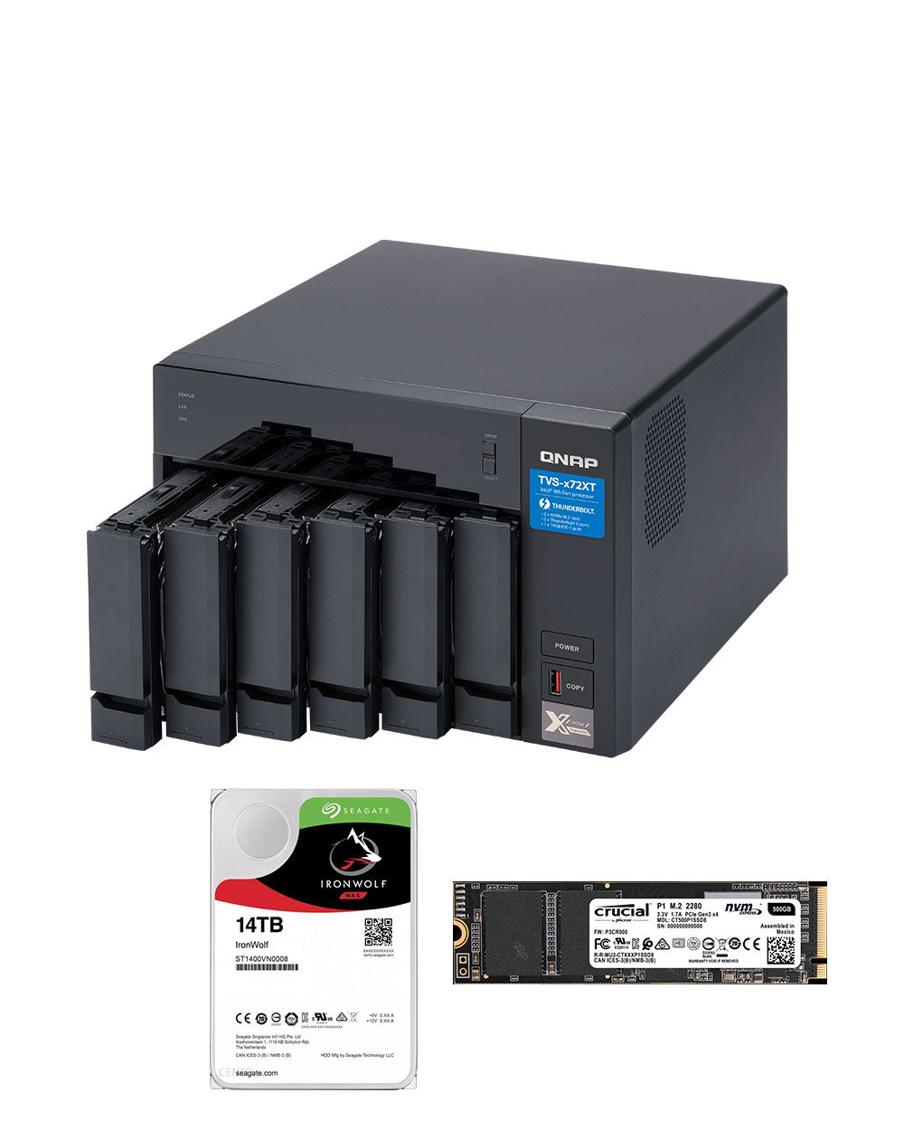 QNAP TVS-672XT-i3-8G with 14TB Ironwolf Drives and 2 x 500GB NVMe
