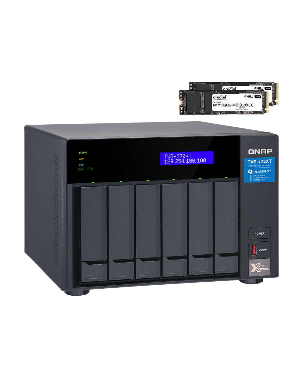 QNAP TVS-672XT-i3-16G with FREE 2 x 512GB NVMe SATA M.2. Installed and ready to go