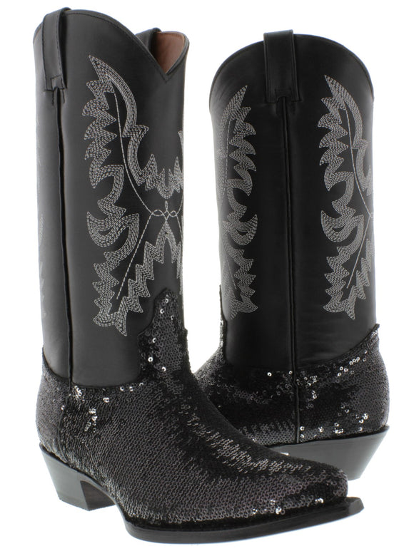 El Presidente - Women's Black Casual Sequins Leather Cowboy Boots Snip Toe
