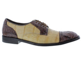 Mens Sand Brown Crocodile Dress Shoes Exotic Skin Genuine Leather Oxfords