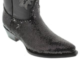 Womens Black Sequins Western Rodeo Cowboy Leather Boots J Toe