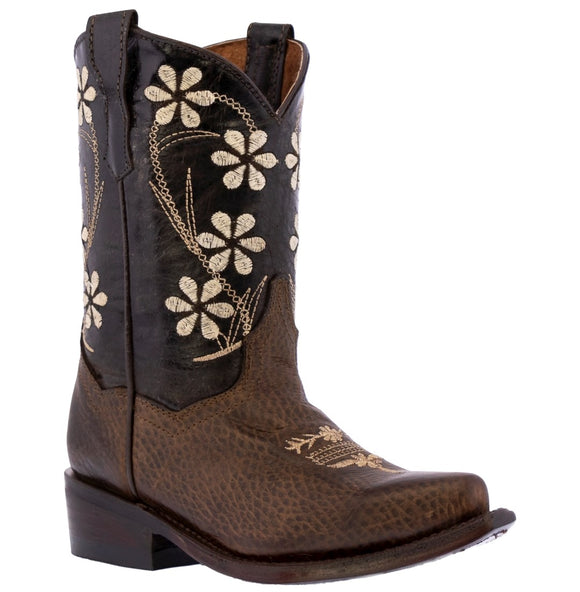 Kids Toddler Western Cowboy Boots Floral Snip Toe Dark Brown - #FLR9