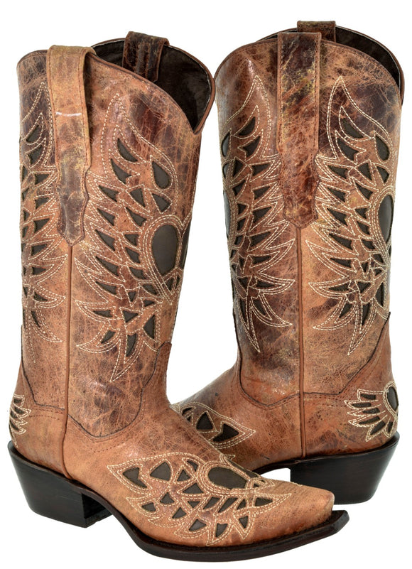 Texas Legacy - Womens Cognac Angel Wings Peace Heart Boots Brown Inlay Leather Western Cowboy Snip Toe