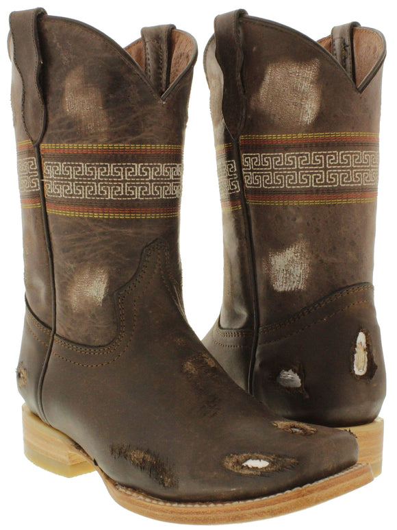Kids Toddler Childrens Brown Cowboy Boots Work Biker Rodeo Western Square Toe