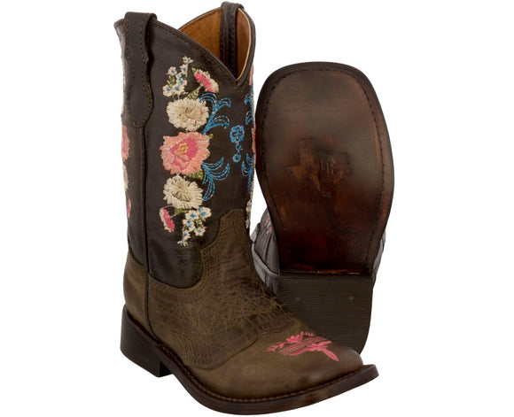 Girls Brown Floral Embroidered Leather Cowboy Boots Square Toe - #JAZ4