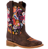 Kids Western Boots Brown Leather Paisley Flowers Cowgirl Square Toe Botas Rancho