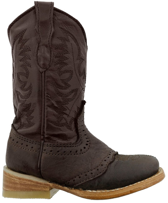 Boys Kids Chocolate Brown Real Leather Youth Western Cowboy Boots Natural Sole