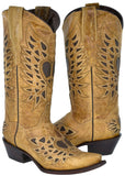 Womens Sand Heart Wings Design Leather Cowboy Boots Snip Toe - TL2