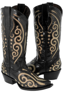 Women's Black Leather Western Cowboy Boots Sand Butterfly Inlay Botas Snip Toe