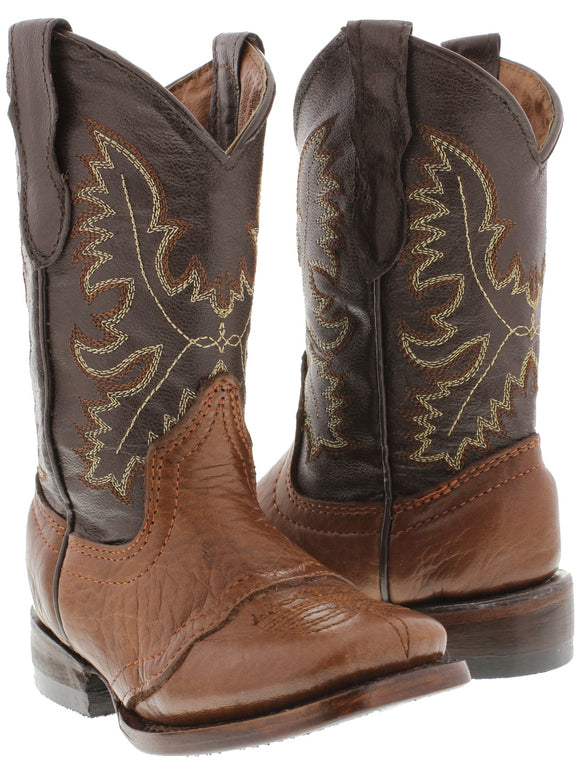 Boys Kids Youth Honey Brown Real Leather Western Wear Cowboy Boots Square Toe
