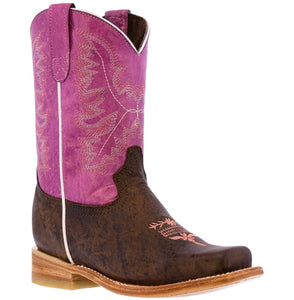Kids Western Boots Classic Smooth Real Leather Purple Square Toe Botas