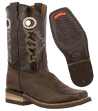Kids Rustic Brown Western Cowboy Boots Leather Square Toe