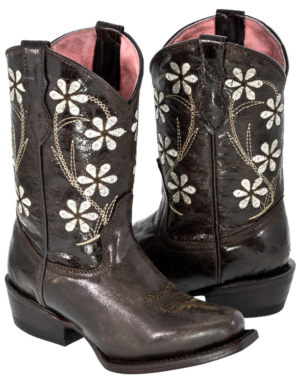 Girls Kids Full Brown Flower Floral Embroidery Leather Cowboy Boots Snip Toe