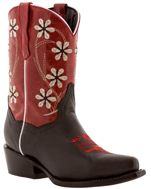 Girls Red Flower Embroidered Cowgirl Dark Brown Leather Boots Snip Toe