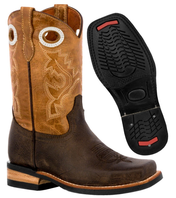 Kids Brown Western Cowboy Boots Leather Rodeo Square Toe