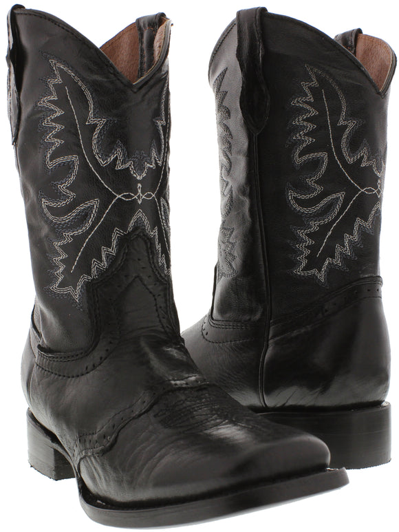 Boys Kids Black Leather Casual Smooth Country Western Cowboy Boots Square Toe