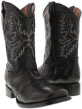 """Boys Kids Black Leather Casual Smooth Country Western Cowboy Boots Square Toe"""